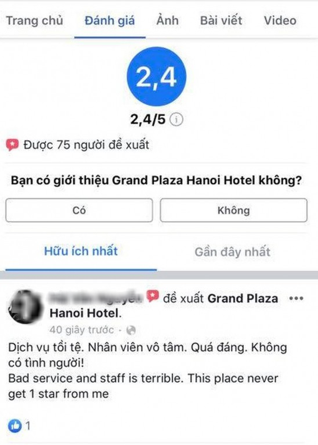 Khách sạn 5 sao tại Hà Nội có nhân viên đuổi người trú mưa nhận bão 1 sao từ cộng đồng mạng - Ảnh 1.