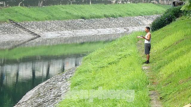 Nước sông Tô Lịch trong veo sau bão, cần thủ thỏa sức buông câu bắt cá - Ảnh 7.