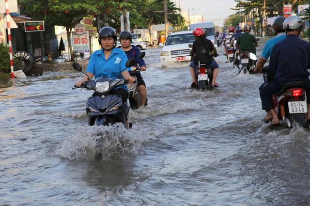Quốc lộ 1A chìm trong nước, CSGT huy động xe chuyên dụng giải cứu - Ảnh 6.