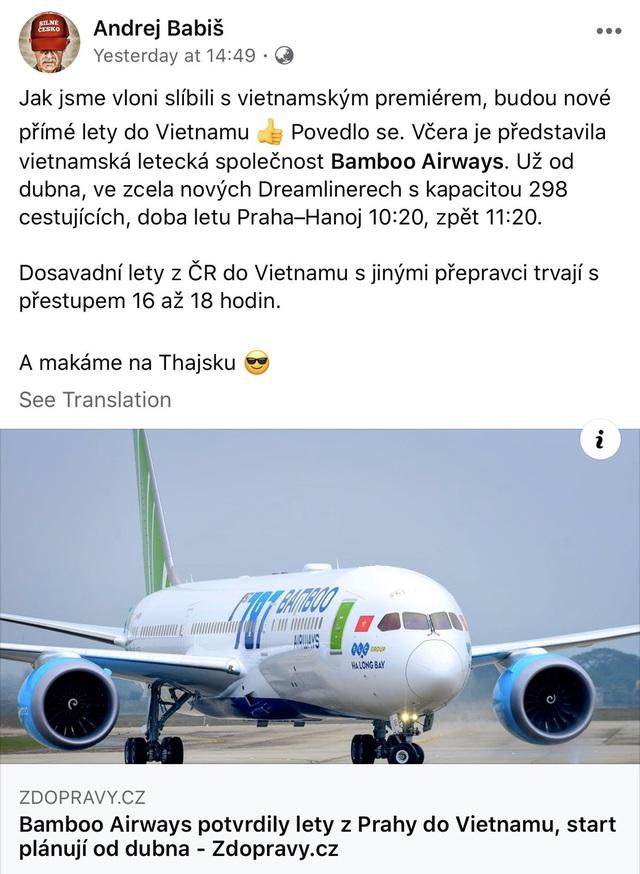 Thủ tướng Séc ủng hộ đường bay Hà Nội - Praha của Bamboo Airways trên Facebook cá nhân - Ảnh 2.