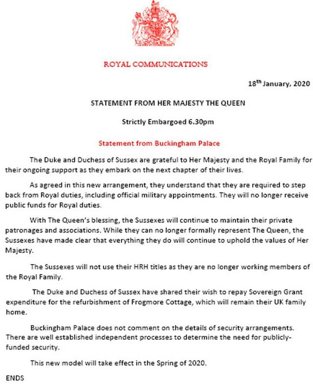 HOT: Vợ chồng Meghan Markle từ bỏ danh hiệu hoàng gia, Nữ hoàng Anh nói lời cảm ơn cặp đôi trong thông báo mới nhất  - Ảnh 1.