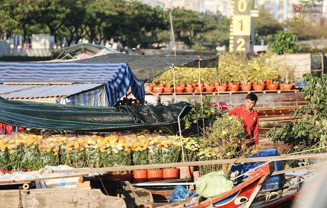 Ảnh: Thuyền chở đầy ắp hoa nối đuôi nhau cập bến Bình Đông, chợ hoa trên bến dưới thuyền rộn ràng sắc xuân ngày cận Tết - Ảnh 9.