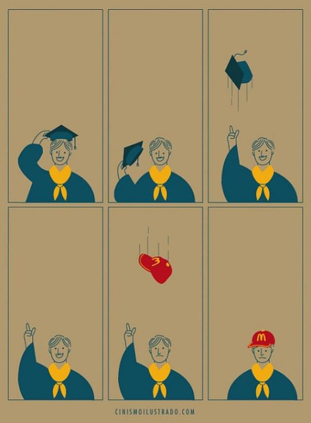 Dở khóc dở cười với hiện thực cuộc sống phũ phàng ẩn giấu trong tranh biếm họa của Eduardo Salles - Ảnh 1.