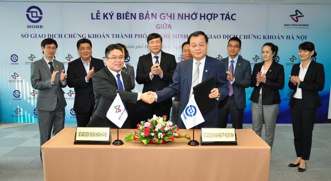 HNX và HOSE ký kết Biên bản thỏa thuận hợp tác
