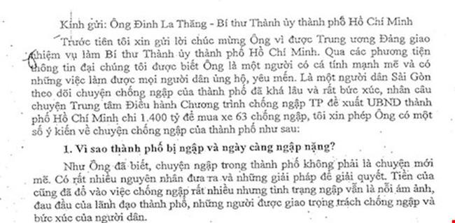 Tâm thư chống ngập 7.000 chữ gửi Bí thư Đinh La Thăng