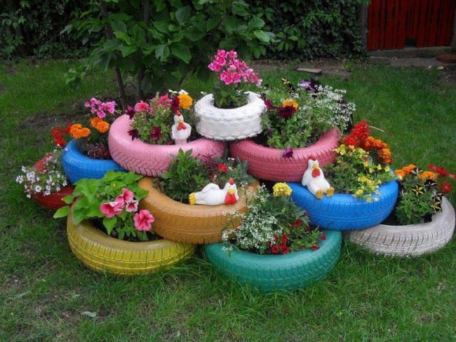 Trang trí vườn nhà với những chiếc lốp xe cũ