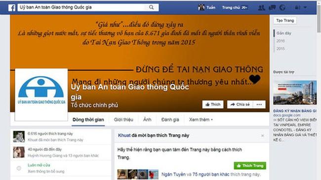 Ủy ban ATGT Quốc gia tiếp nhận thông tin qua Facebook