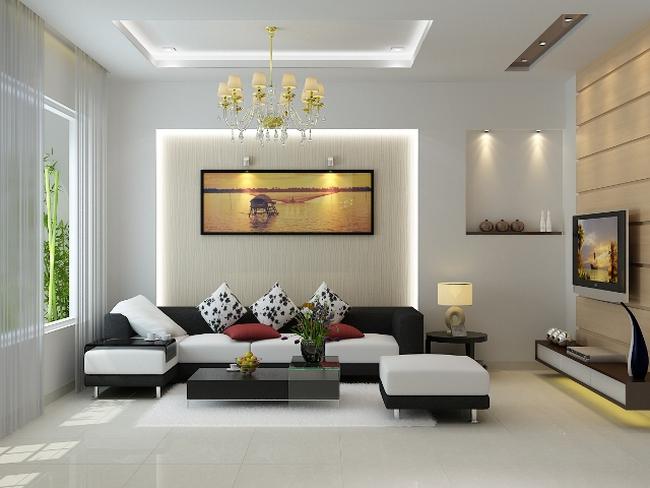 Phòng khách rạng rỡ với những thiết kế tường ấn tượng