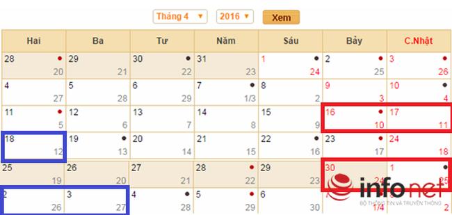 Lịch nghỉ lễ Giỗ Tổ Hùng Vương 2016 và dịp lễ 30/4, 1/5