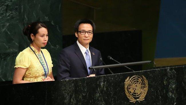 Một phụ nữ dân tộc Thái nhiễm HIV phát biểu tại Liên Hiệp Quốc