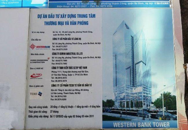 """Dự án TTTM và văn phòng 1A Láng Hạ thành lán mái tôn: """"Do sáp nhập ngân hàng"""""""