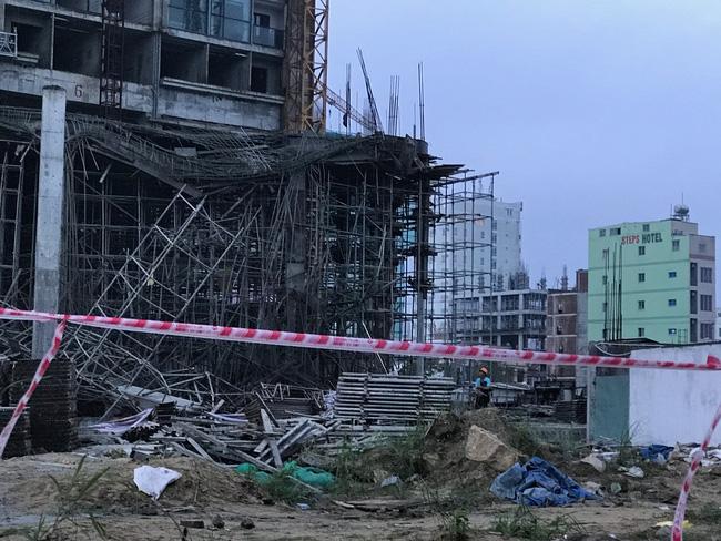 Cận cảnh hiện trường sập giàn giáo công trình cao ốc 33 tầng tại thành phố Đà Nẵng