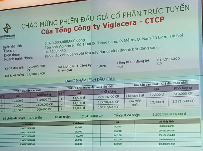 [Live] Đấu giá Viglacera: Giá trúng bình quân 16.175 đồng/cp, 91,65% thuộc về nhà đầu tư nước ngoài
