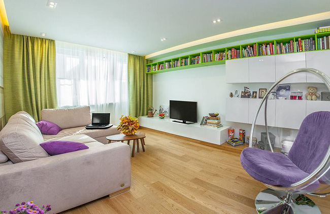 Thiết kế nội thất độc đáo của căn hộ 58m2 dành cho gia đình trẻ lấy gam màu chủ đạo xanh lá cây