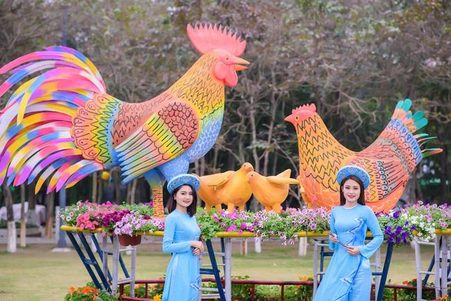 Cận cảnh đường hoa Tết Đinh Dậu đặc sắc trong khu đô thị Ecopark