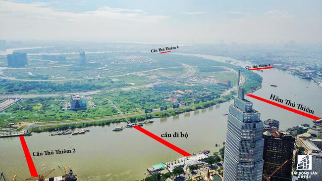 Toàn cảnh bán đảo Thủ Thiêm nối với trung tâm Sài Gòn qua 4 cây cầu nghìn tỷ sắp xây dựng
