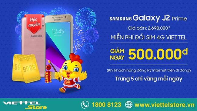 Smartphone 4G Galaxy J2 Prime giá hấp dẫn tại Viettel Store