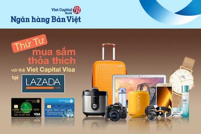 """""""Tiệc ưu đãi"""" thứ 4 hàng tuần tại Lazada.vn dành cho chủ thẻ Viet Capital Visa"""