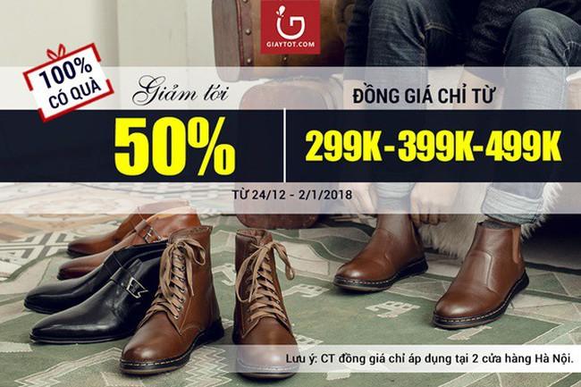 Sự kiện lớn nhất năm tại Giaytot.com - giảm tới 50% tất cả giày nam