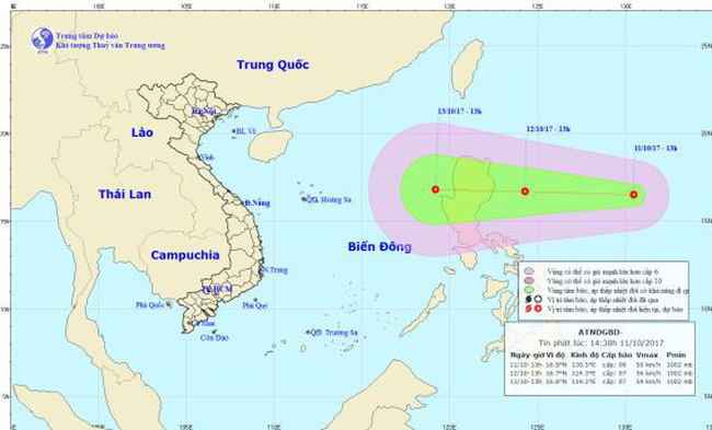 Lại xuất hiện áp thấp nhiệt đới mới trên biển Đông