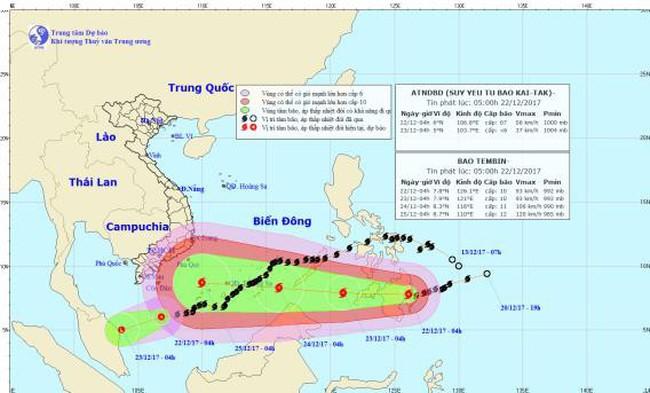 Bão Tembin tiến nhanh hướng Biển Đông, gió giật cấp 13