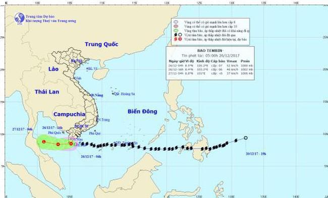 Bão số 16 Tembin suy yếu thành áp thấp nhiệt đới
