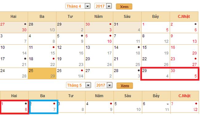 Lịch nghỉ Lễ 30/4 và 1/5