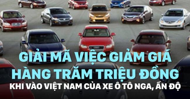 Giải mã việc xe ô tô Nga, Ấn Độ giảm giá hàng trăm triệu đồng khi vào Việt Nam