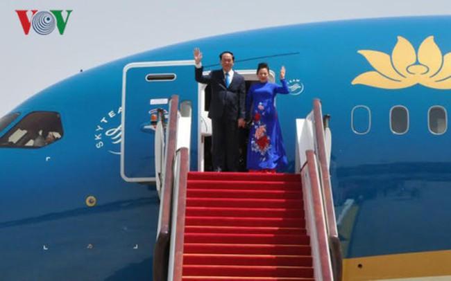 Chủ tịch nước và phu nhân đến Bắc Kinh, Trung Quốc