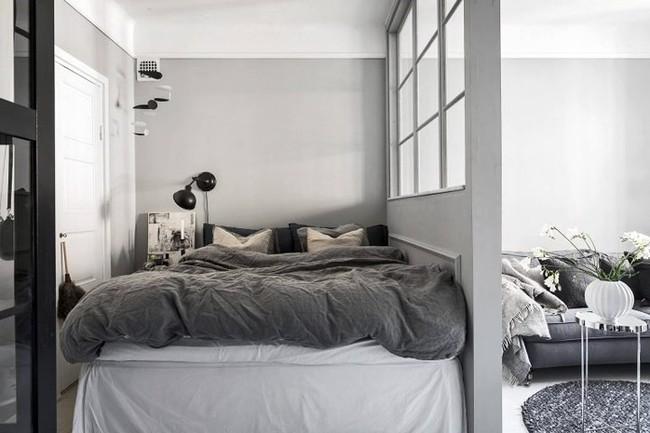 Căn hộ nhỏ màu trắng xám đẹp hoàn hảo
