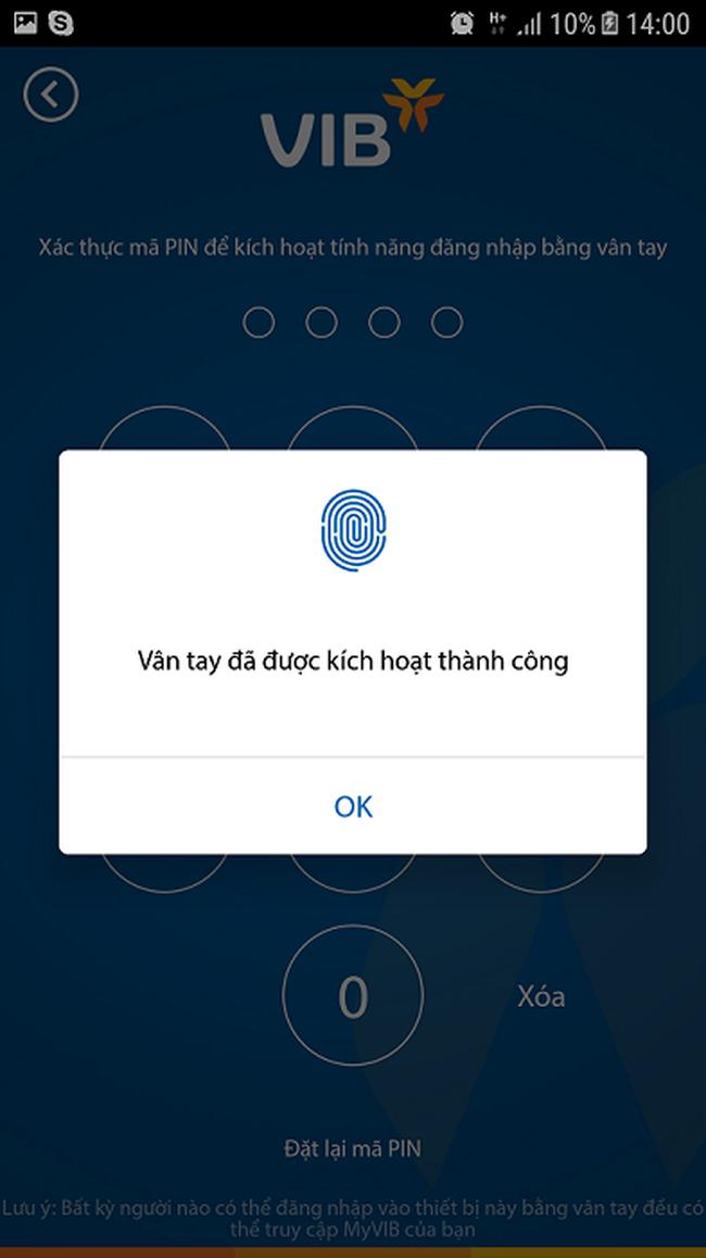 VIB ứng dụng bảo mật sinh trắc học trong giao dịch ngân hàng