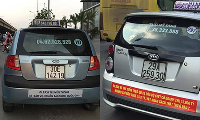 Taxi truyền thống dán khẩu hiệu phản đối Uber, Grab