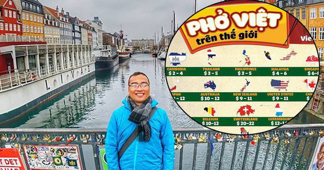 Thầy giáo Việt đi vòng quanh thế giới, lập bản đồ giá phở đã ăn ở 45 quốc gia
