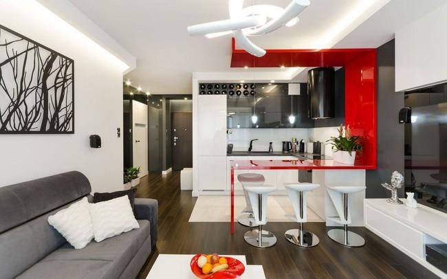 Nội thất căn hộ 43m2 được phối màu đẹp ngất ngây