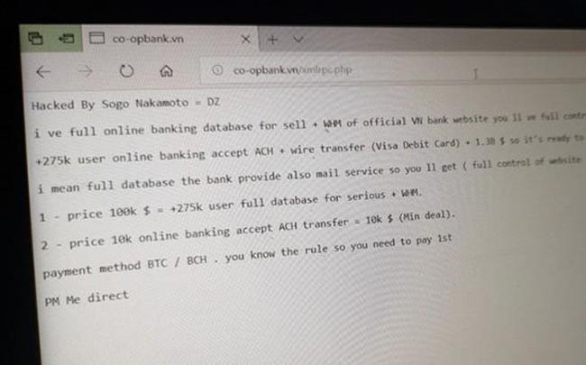 Website Ngân hàng Hợp tác xã Việt Nam bị hack, khách hàng của ngân hàng này cần làm gì?
