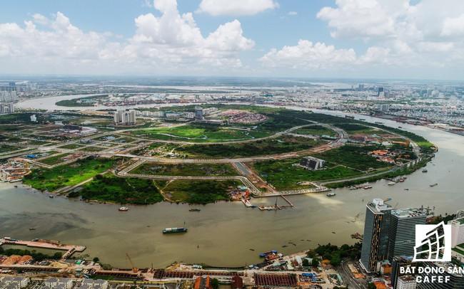 Cận cảnh dự án cầu 4.260 tỷ đồng đang xây dựng bắc qua sông Sài Gòn nối Quận 1 với Quận 2