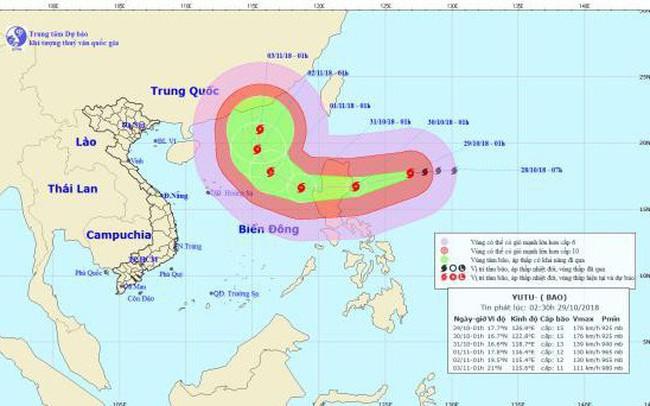 Bão YUTU giật cấp 17 di chuyển nhanh hướng vào Biển Đông
