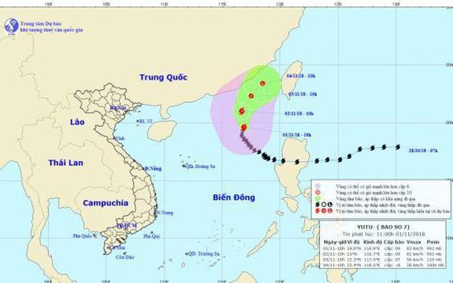 Bão số 7 giật cấp 12 cách quần đảo Hoàng Sa khoảng 570km