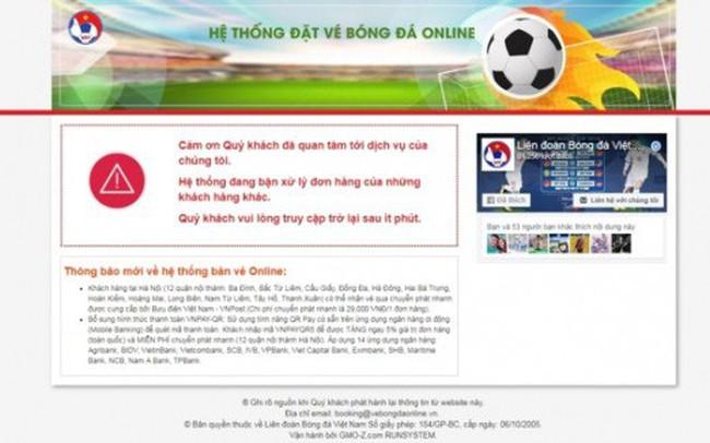Bức xúc khi đặt vé xem bóng đá qua mạng, tiền thì trừ mà VFF lại báo không thành công