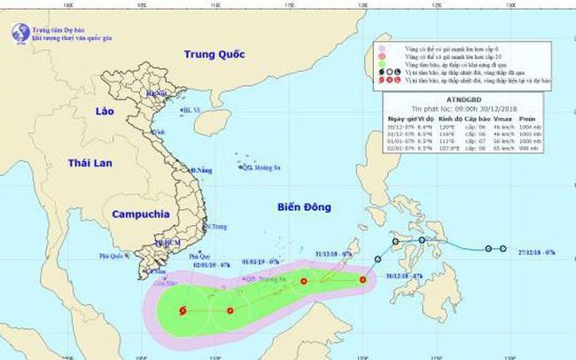Áp thấp nhiệt đới có thể thành bão mạnh cấp 8 trên Biển Đông