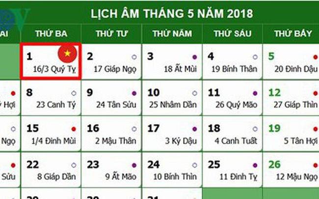 Lịch nghỉ chính thức Giỗ Tổ Hùng Vương, 30/4 và 01/5/2018