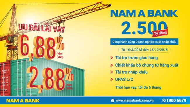 Nam A Bank: 2.500 tỷ đồng ưu đãi lãi vay đồng hành cùng doanh nghiệp xuất nhập khẩu