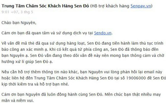 Khách tố hàng ngàn thẻ nạp tiền mua từ Sendo.vn bị mất 300 triệu đồng