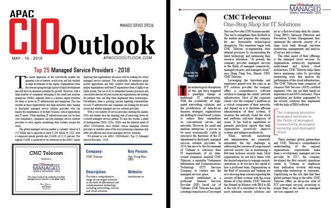 Vì sao CMC Telecom được bình chọn Top 25 nhà cung cấp dịch vụ quản trị châu Á-TBD