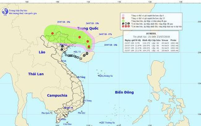 Áp thấp nhiệt đới đi vào đất liền Trung Quốc