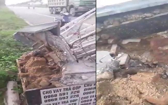 Xôn xao hình ảnh cổng chào bị xe tải kéo đổ lộ phần trụ toàn cát