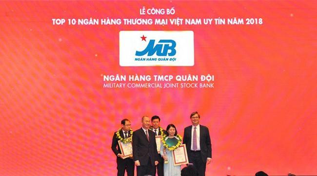 MB thăng hạng trong Top 10 Ngân hàng thương mại Việt Nam uy tín năm 2018