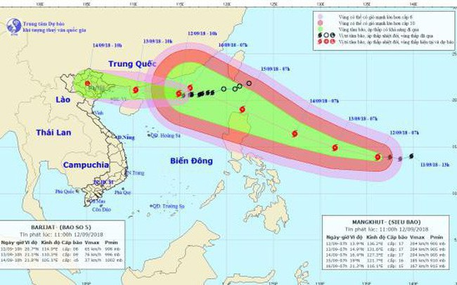 Bão số 5 tiến thẳng vùng biển Quảng Ninh - Nam Định