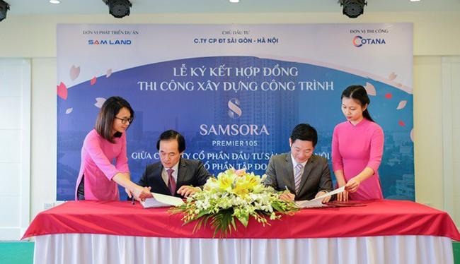 Lễ ký kết hợp đồng thi công gói thầu kết cấu phần thân dự án Samsora Premier 105