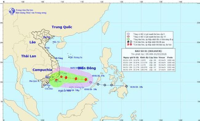 Xuất hiện cơn bão đầu tiên của năm 2018 trên Biển Đông